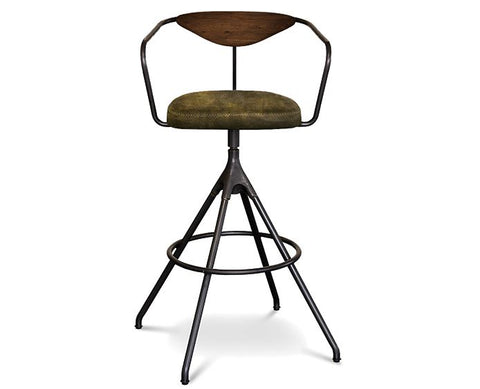 Akron Leather Bar Stool - District Eight