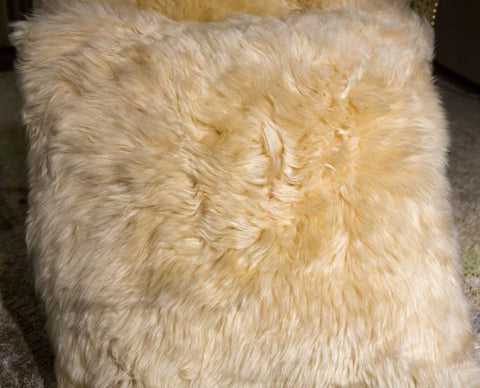 "Long Wool Pillow Cream, 20"" x 20"" - Auskin"