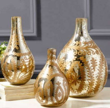 Bellefontaine Etched Teardrop Decorative Vases (S/3) - Two's Company