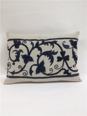 Natural Linen Charcoal Embroidery Pillow - Callisto Home