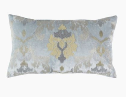 Spa Blue Velvet Pillow 14 x 24 - Callisto Home