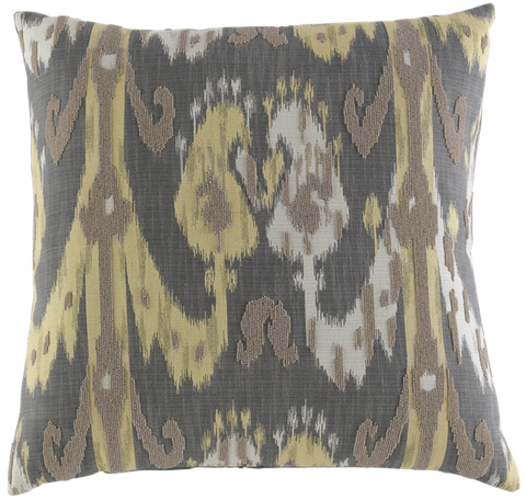 Ikat Damask Charcoal Yellow Cream With Natural Beads - Callisto Home