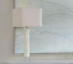 White Calcite and Quartz Table Lamp - John-Richard