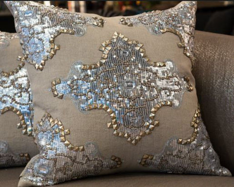 Natural Linen, Metallic Studs, Silver Sequins - Callisto Home