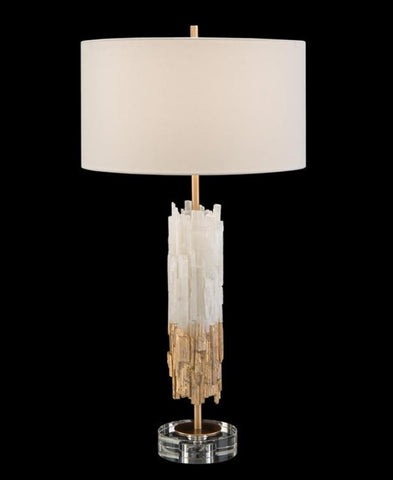 Gold-Leaf Selenite Table Lamp - John-Richard