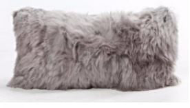 "Cool Grey Alpaca Pillow 11"" x 22"" - Auskin"
