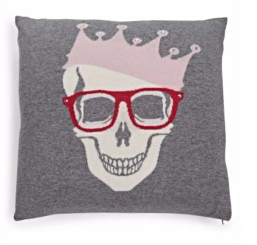 Skull Crown Pillow, Fuchsia - Rani Arabella