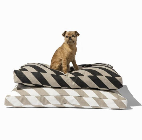Linen Diagonal Stripe Dog Mattress Bed - Mr. Dog