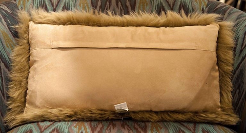 "Long Wool Taupe Pillow 11"" x 22"" - Auskin"
