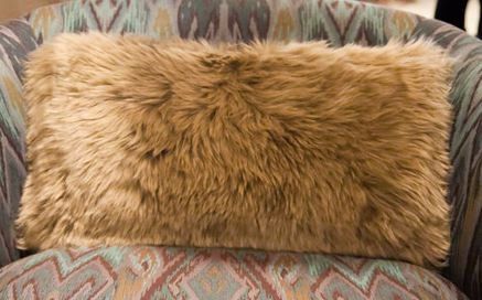 Long Wool Taupe Pillow 11