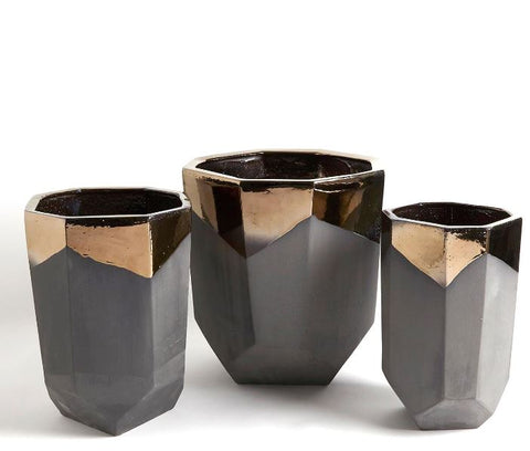 Faceted Banded Bronze Container - Global Views
