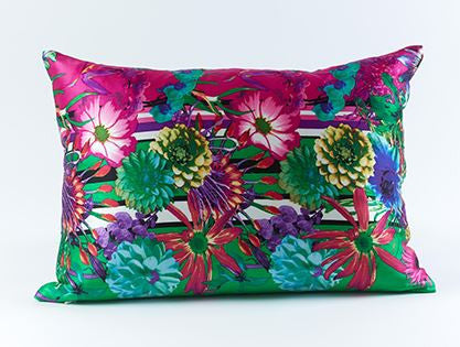Flower Stripe Silk Pillow Green - Ann Gish