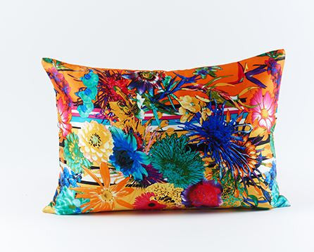 Flower Stripe Silk Pillow Orange - Ann Gish