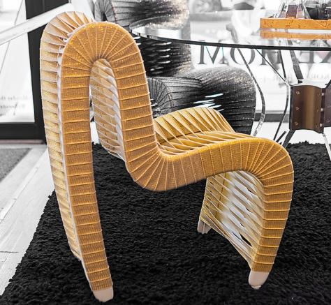 Seat Belt Dining Chair, Gold/White - Phillips Collection