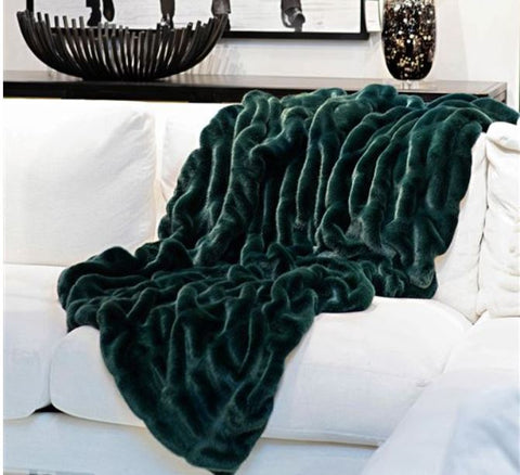 Emerald Mink Couture Collection Throw - Fabulous Furs