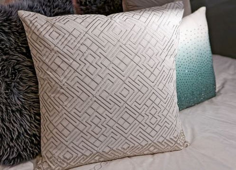 Silver Embroidered Pillow With Silver Beads - Callisto Home