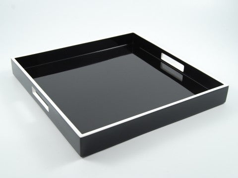 Square Serving Tray w/ Black & White Trim - Pacific Connections
