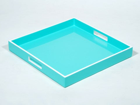 Square Serving Tray Sky Blue w/ White Trim - Pacific Connections