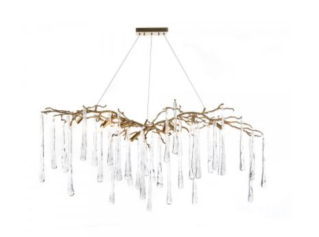 Brass And Glass Teardrop Nine-Light Chandelier - John-Richard