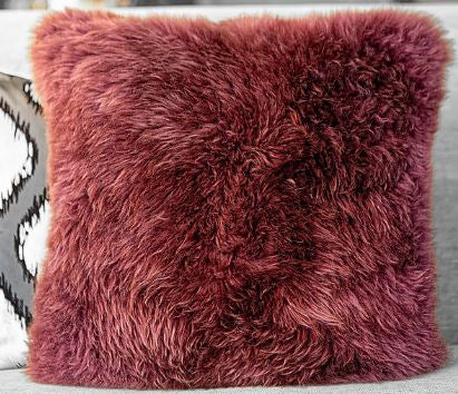 Long Wool Pillow, Plum 20