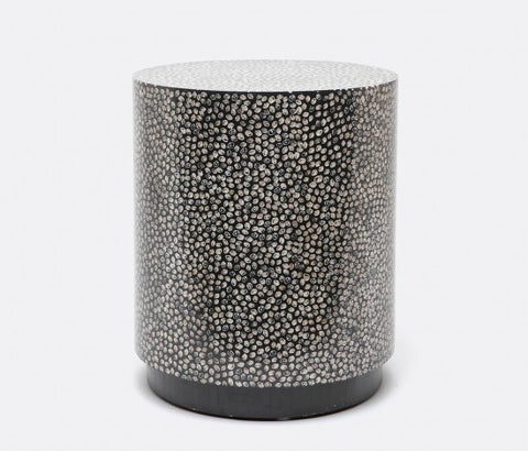 Gabe Inlaid Shell Stool, Black Cone Shell - Made Goods