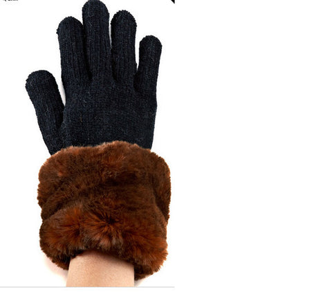 Mahogany Mink Faux Fur Trimmed Knit Gloves - Fabulous Furs