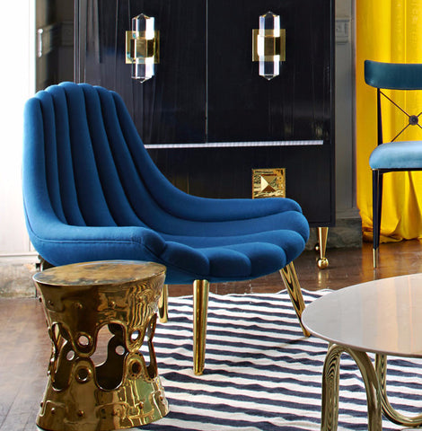 Brigitte Navy Lounge Chair Jonathan Adler Luxe Home