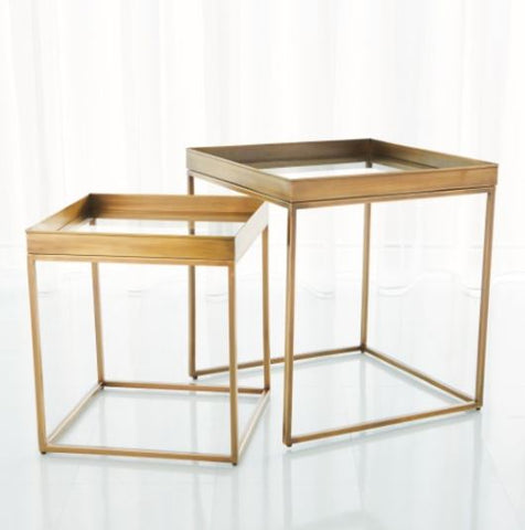 S/2 Perfect Nesting Tables-Antique Brass - Studio A