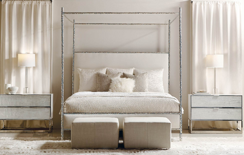Odette Upholstered King Canopy Bed - Bernhardt Interiors