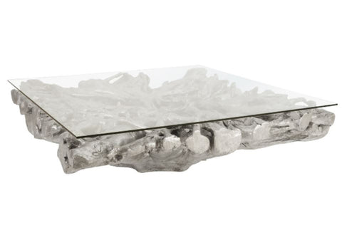 Square Root Coffee Table With Glass - Phillips Collection