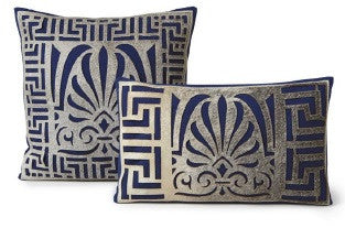 "Stenciled Cowhide Serene Blue Pillow 12"" x 20"" - Auskin"