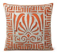 "Stenciled Cowhide Serene Orange Pillow 20"" x 20"" - Auskin"