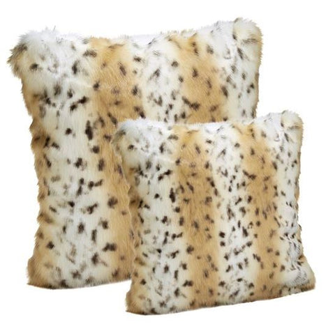 Snow Leopard Faux Fur Pillow - Fabulous Furs