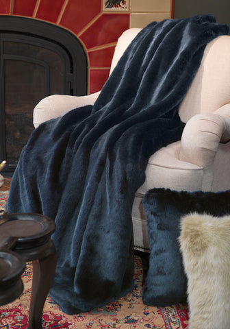 Steel Blue Mink Couture Faux Fur Throw - Fabulous Furs