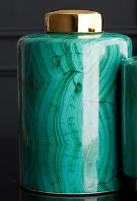 Tall Malachite Jar with Gold Lid - Tozai Home