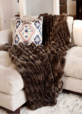 Attirant Taupe Mink Couture Faux Fur Throw   60