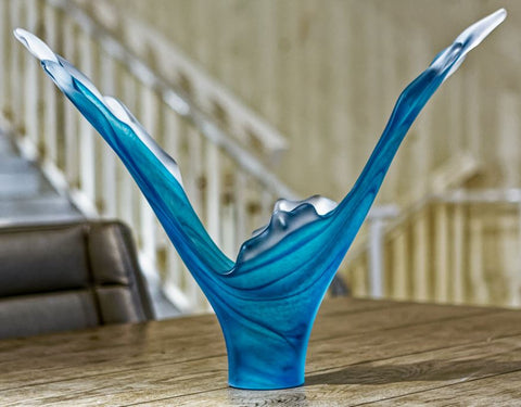 Splash Blue Aqua Glass Sculpture - Teign Valley Glass