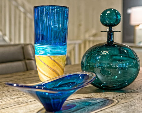 Cerlean Blue Beach Tall Vase - Teign Valley Glass