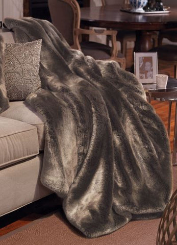 Timber Wolf Couture Faux Fur Throw - 60