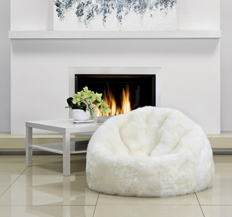 Large Ivory Long Wool Bean Bag - Auskin
