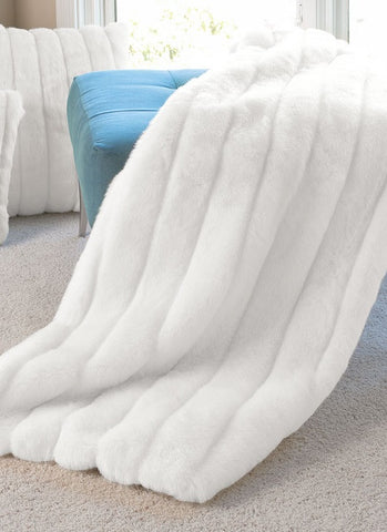 "White Mink Signature Faux Fur Throw - 60"" x 80"" - Fabulous Furs"