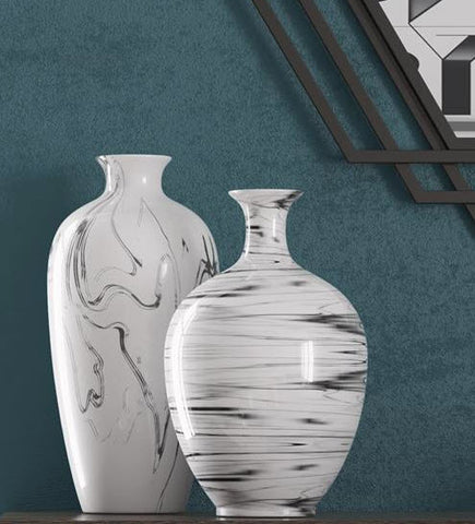 Porcelain White and Black Swirl Bottle Vase - Howard Elliott