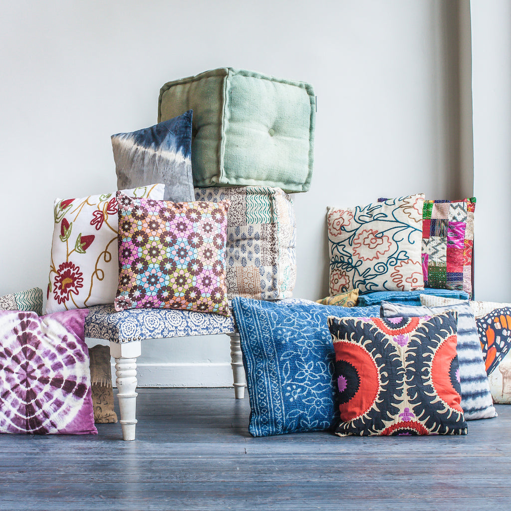Indian Pillows, Poufs, and Ottomans