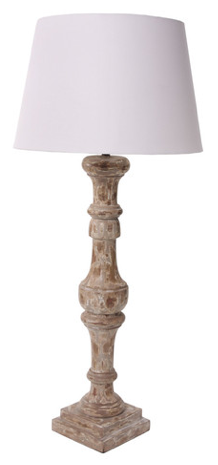Antiqued Wooden Table Lamp
