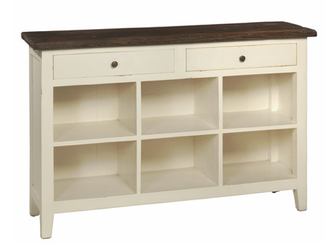 Durant Sideboard Rialroad Tie Top with Cream White Base