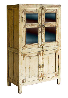Exposed Wood and Glass Cabinet