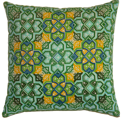 Green and Yellow Printed Pillow