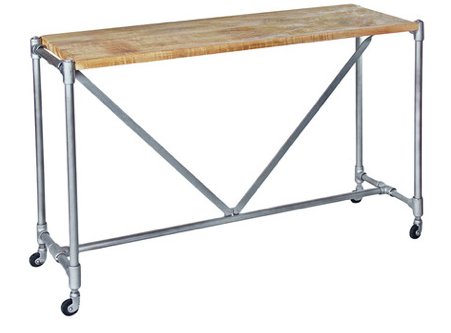 Industrial Pipe Console Table in Light Iron with a Natural Wood Top