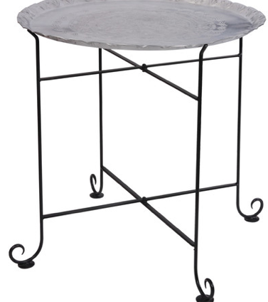 Aluminum Tray on Stand End Table