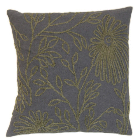 Leafy Coal and Green Crewel Pattern Pillow